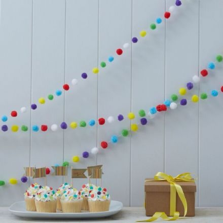 Kraft Party - Colourful Pom Poms Bunting / Garland - 3M
